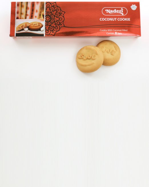 Naderi Coconut Cookie - Contains 8 Bars - Long Red Box